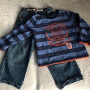 2 pc set boys jeans & long sleeve fleece top